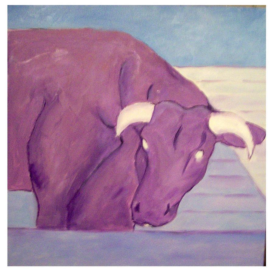 Purple Painting - My Purple Cow by Sue Prideaux