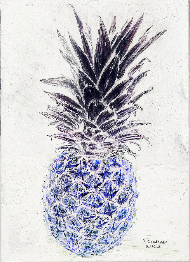 Mysterious Blue Pineapple Painting By Robert Goudreau