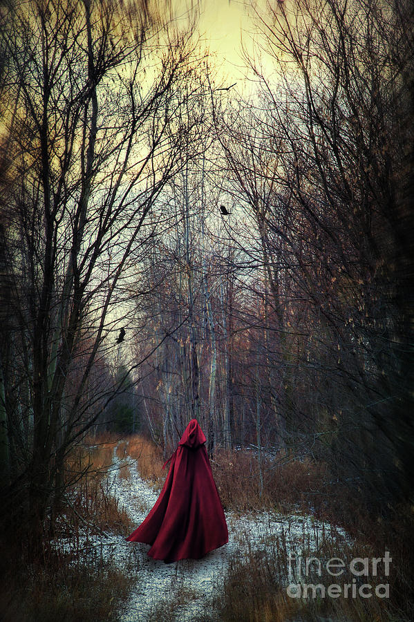 Mysterious Figure Wearing Red Cape Walking In Woods