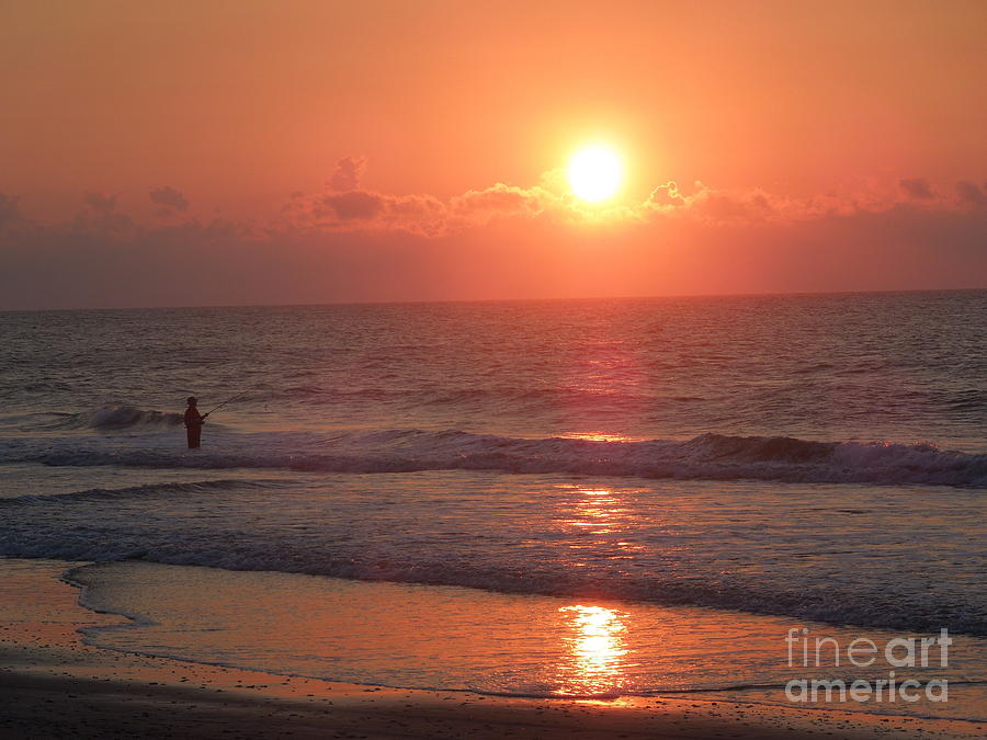 Fisherman Photograph - Mysterious Fisherman With The Sunrise by Chad and Stacey Hall
