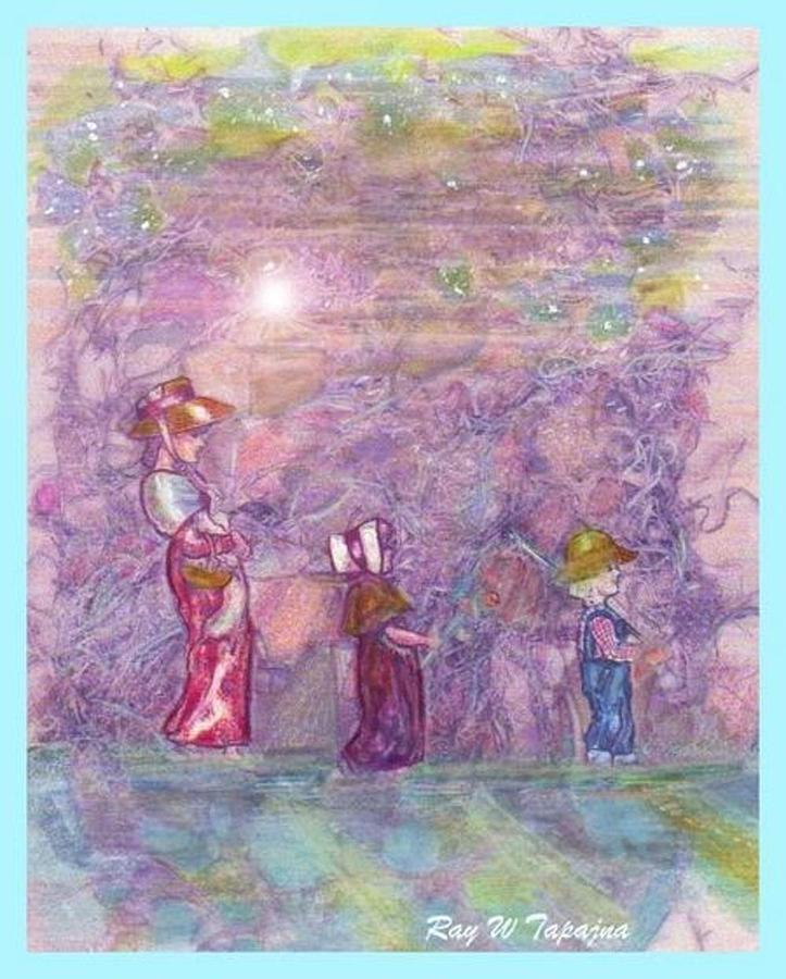 Mystical Landscape. Three People Strolling Mixed Media - Mystical Stroll by Ray Tapajna