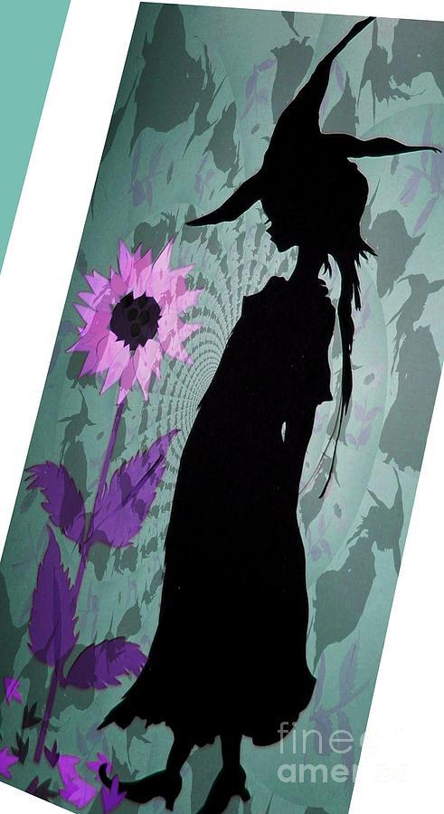 Papercut Mixed Media - Mystical Witch by Nancy Michalak