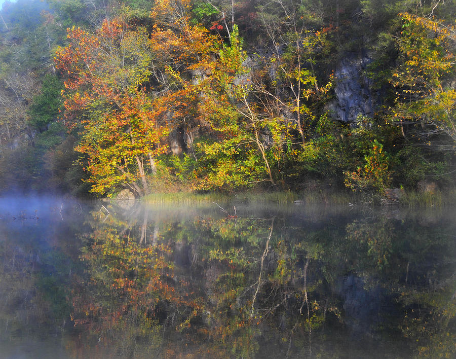 Fall Colors Photograph - Mysty Morn On The Current by Marty Koch