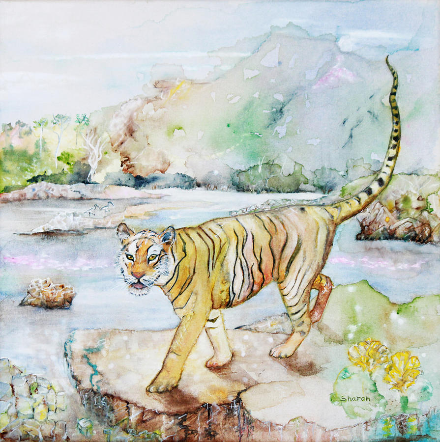 Wild Tiger Painting - Mythic Tiger by Sharon StJoan