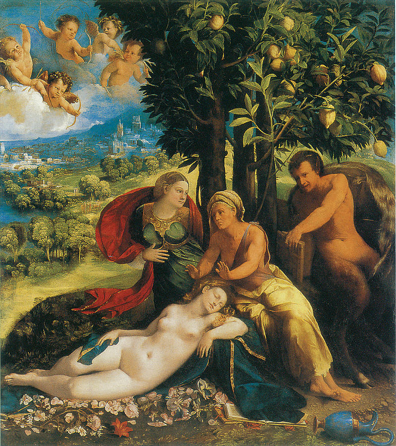 Mythological Scene Painting - Mythological Scene by Dosso Dossi
