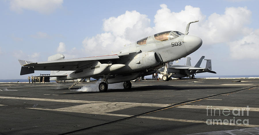 Landing Photograph - N Ea-6b Prowler Makes An Arrested by Stocktrek Images