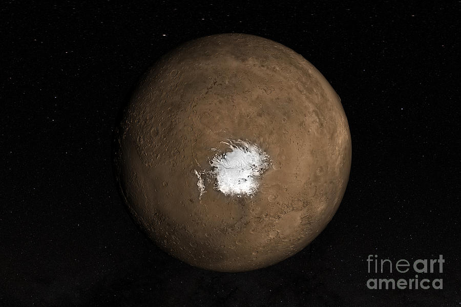 Nadir Photograph - Nadir View Of The Martian South Pole by Stocktrek Images