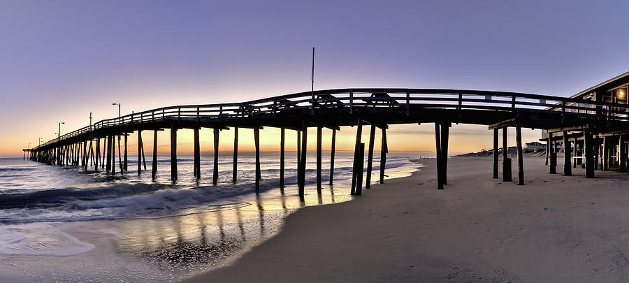 Nags head fishing pier at sunrise outer banks scenic for Nags head fishing pier