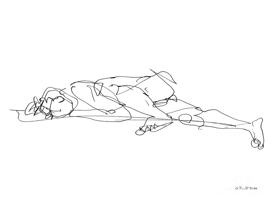 Male Drawing - Naked-man-art-17 by Gordon Punt