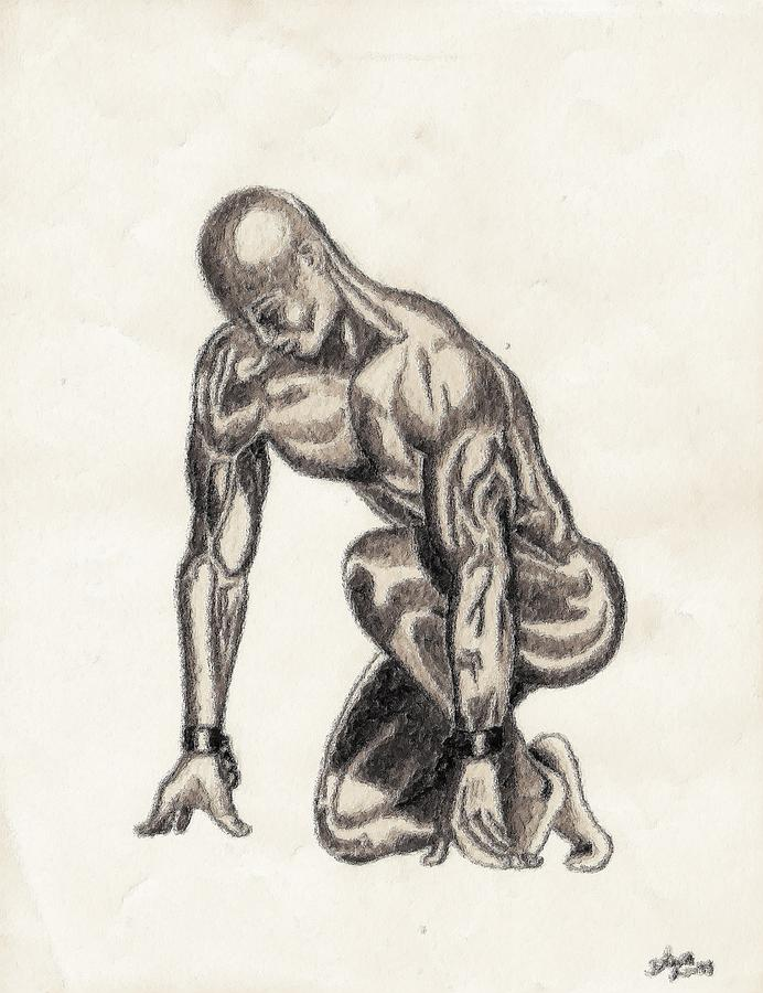 Black Drawing - Naked Man by Shawn Williams