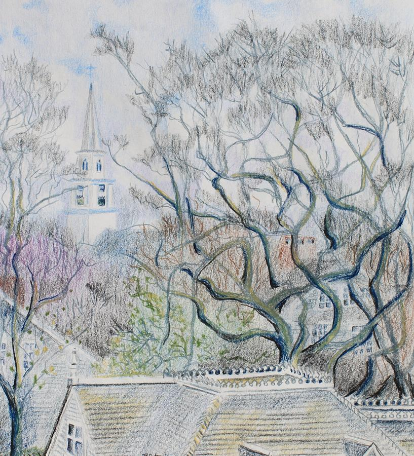 Landscape Drawing - Nantucket Roof -tops  by Thomas J Nixon