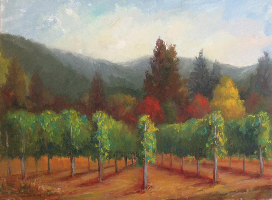 Plein Air Painting - Napa Valley Vineyards Harvest Time By Deirdre Shibano by Deirdre Shibano