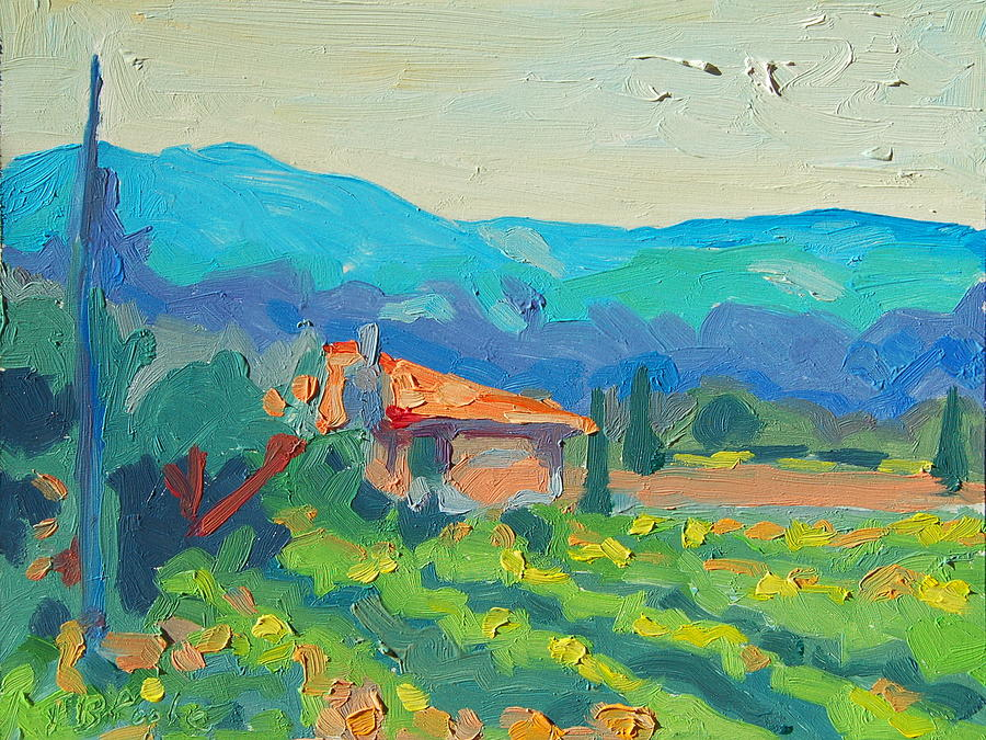 Napa Vineyards With House And Hills Blue Hills And Terracotta Tile Roof Green Yellow Orange Blue Cypress Trees Painting - Napa Valley Vineyards With House And Hills by Thomas Bertram POOLE