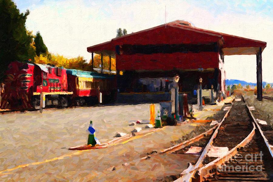 Wine Train Photograph - Napa Wine Train At The Napa Valley Railroad Station by Wingsdomain Art and Photography