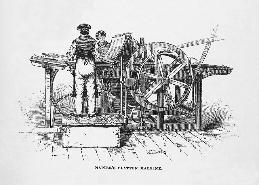 Printing Press Photograph - Napiers Printing Machine by Science, Industry & Business Librarynew York Public Library