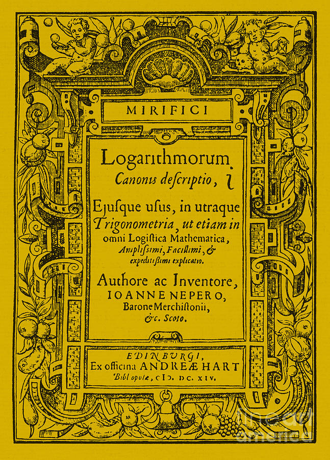 Napier Photograph - Napiers Treatise On Logarithms by Photo Researchers
