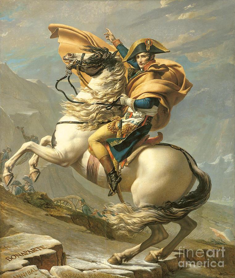 Emperor; Horse; Rearing; I; Male; Portrait; Saint; Riding; Saint-bernard; Saint Bernard; Iconic Painting - Napoleon by Jacques Louis David