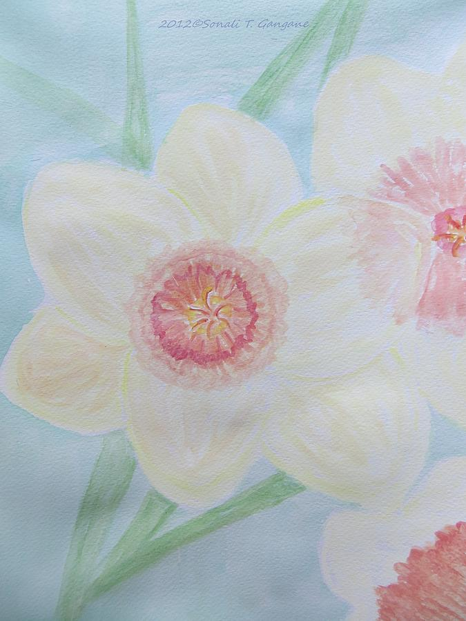 Daffodils Painting - Narcissus Flower by Sonali Gangane