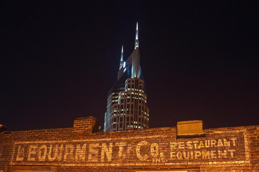 Nashville Photograph - Nashville Downtown Night Scene by Douglas Barnett