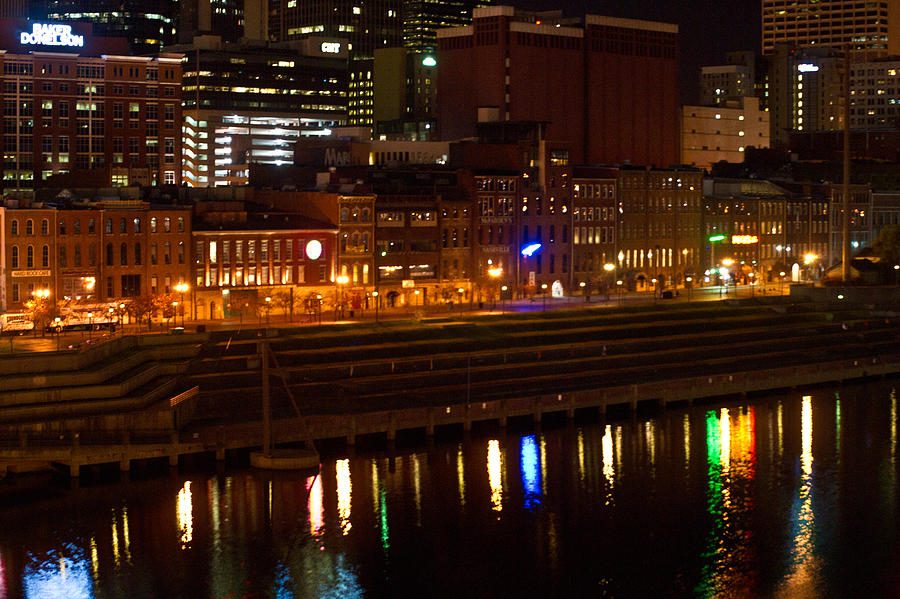 Nashville Photograph - Nashville River Front By Night 1 by Douglas Barnett
