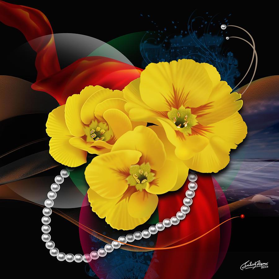 Natalys Flower Mixed Media by Satish Verma