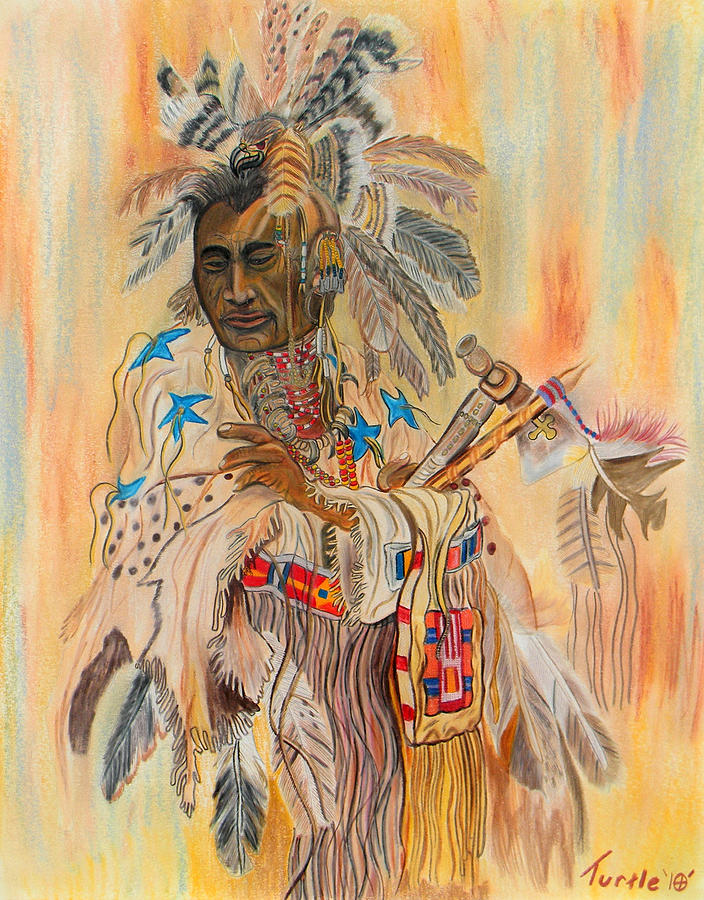 Native American Colored Pencil Rendition Of A Larry Fanning Oil Painting Drawing by The Nothing Machine Ink