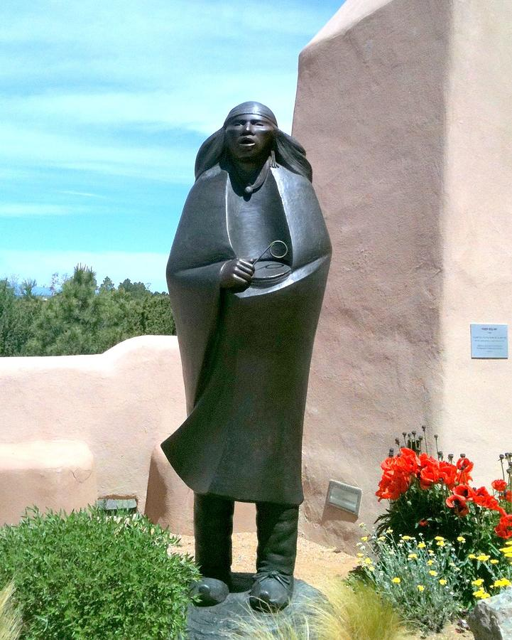 Native American Statue - Santa Fe Photograph by Vicki Coover