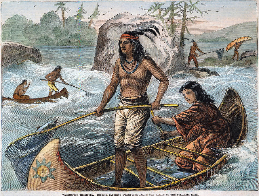 Native Americans Fishing Photograph By Granger