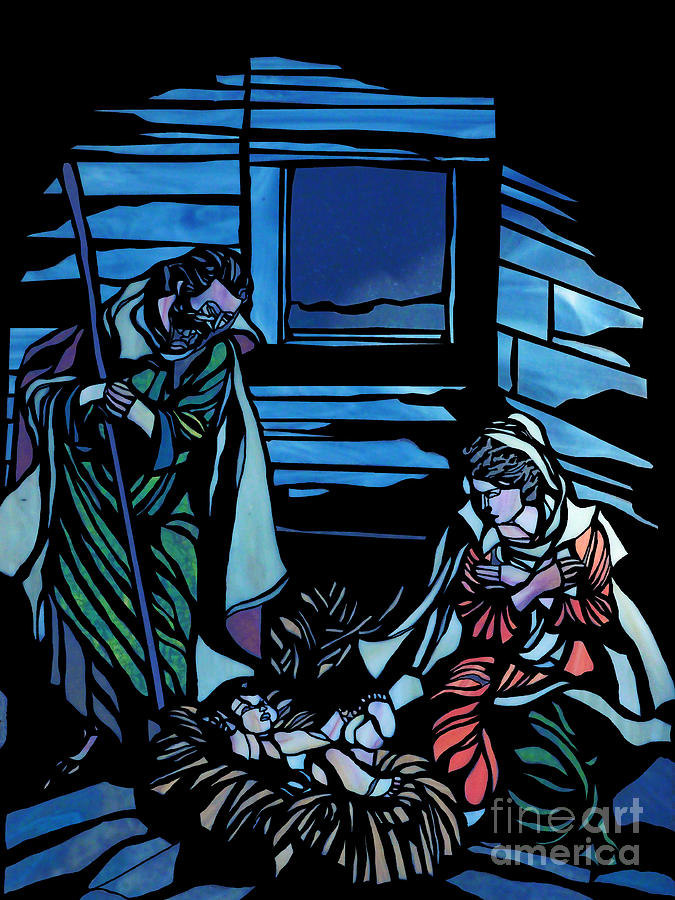 Nativity Stained Glass Painting - Nativity Stained Glass by Methune Hively