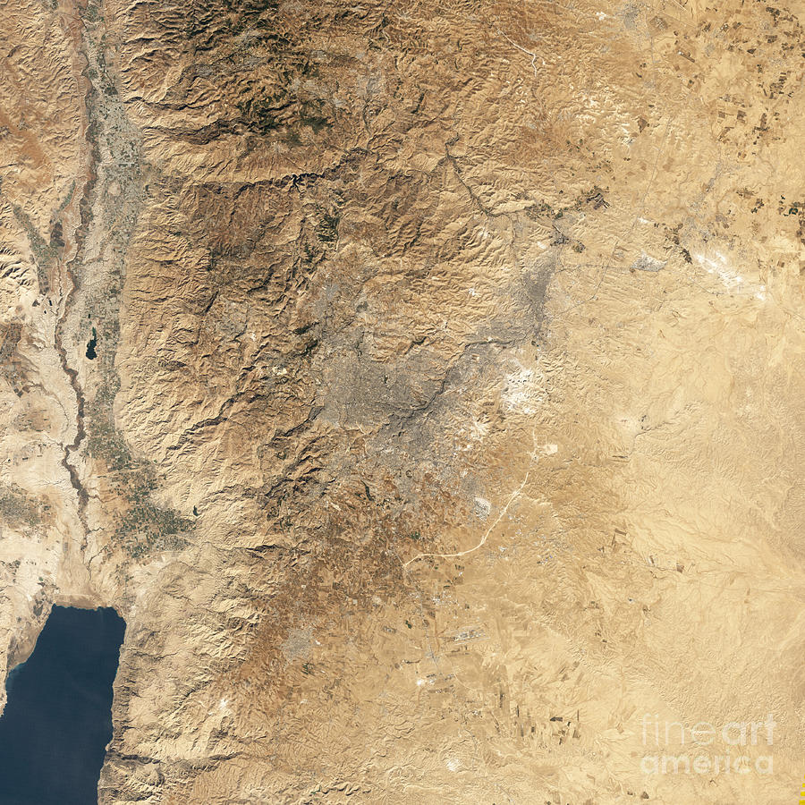 Valley Photograph - Natural-color Satellite View Of Amman by Stocktrek Images