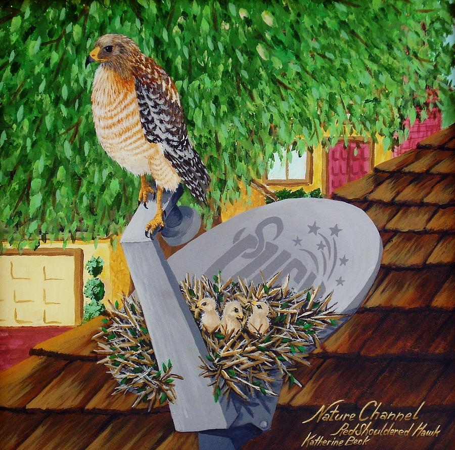Print Painting - Nature Channel- Red Shouldered Hawk by Katherine Young-Beck