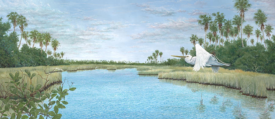 Egret Painting - Nature Coast by Kevin Brant