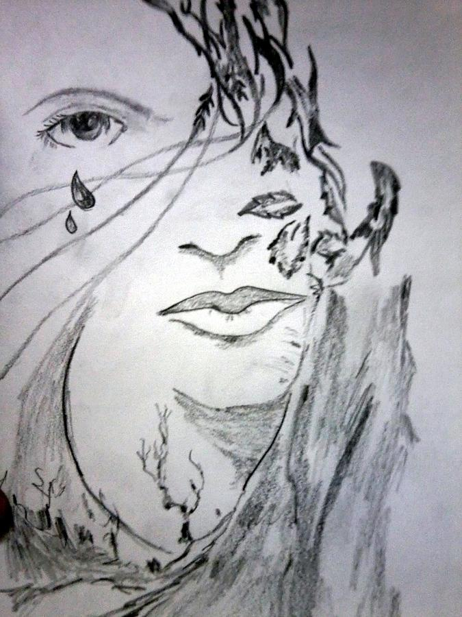 Nature Cry Drawing By Ashish Jha