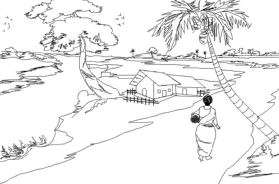 Line Art Village : Nature in village india drawing by sushanta roy