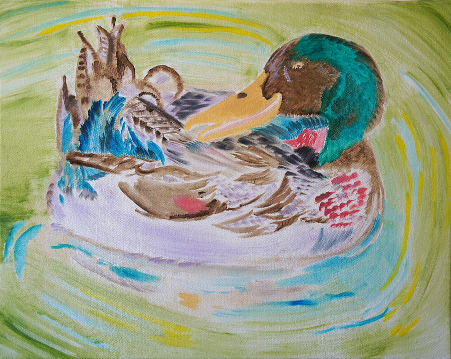 Duck Painting - Natures Music by Meryl Goudey