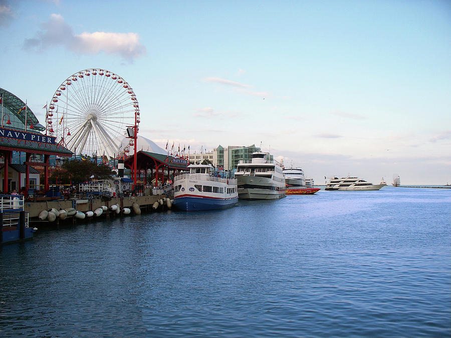 Cities Photograph - Navy Pier Chicago Summer Evening by Thomas Woolworth