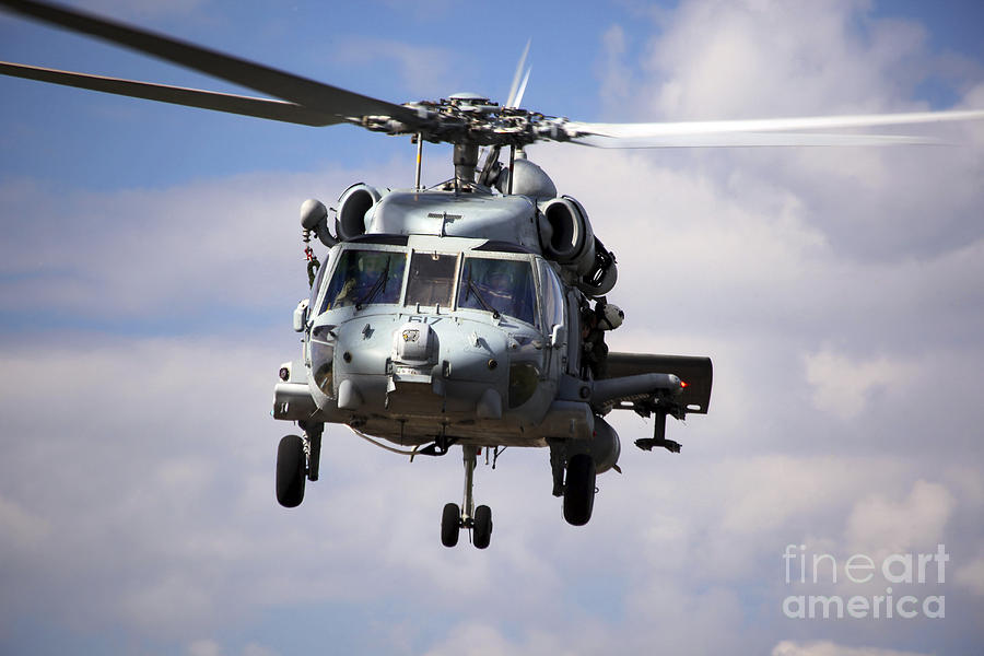 Military Photograph - Navy Pilots In A Sh-60f Seahawk Conduct by Michael Wood