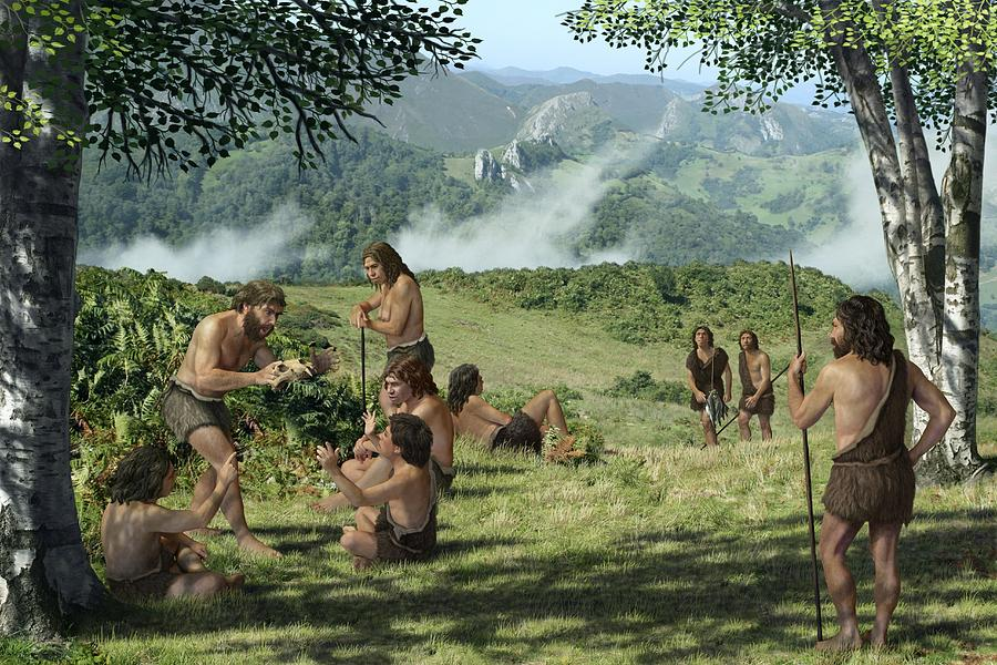 Homo Neanderthalensis Photograph - Neanderthals In Summer, Artwork by Mauricio Anton