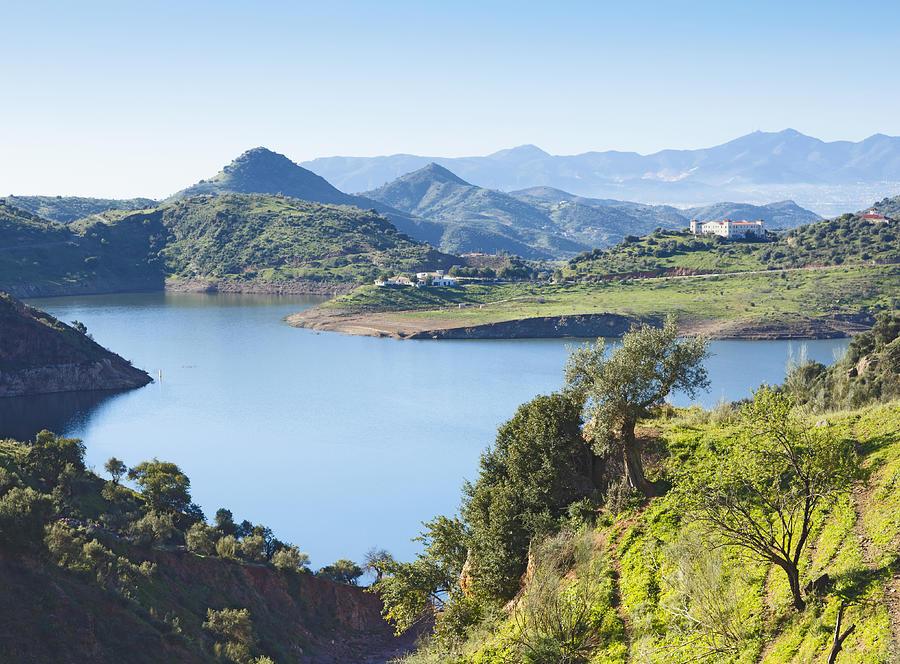 Horizontal Photograph - Near Almogia, Spain. Casasola Reservoir. by Ken Welsh