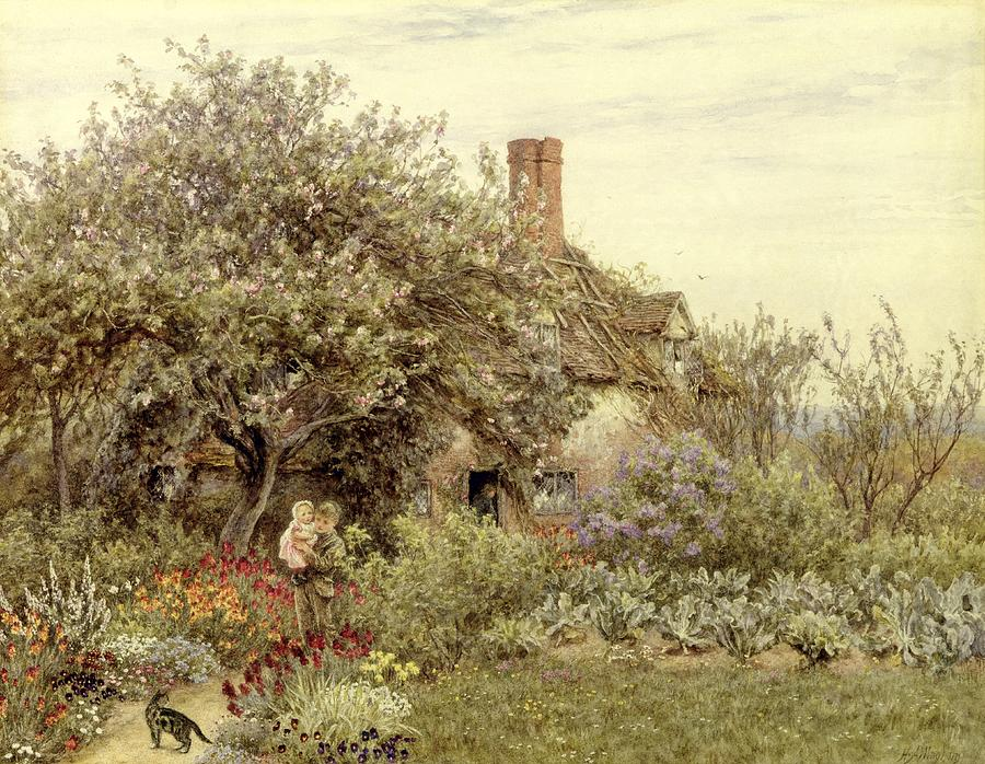 Cottage; Mother And Child; Rural Scene; Country; Countryside; Home; House; Path; Garden; Wildflowers; Irises; Picturesque; Idyllic; Daughter; Female Painting - Near Hambledon by Helen Allingham