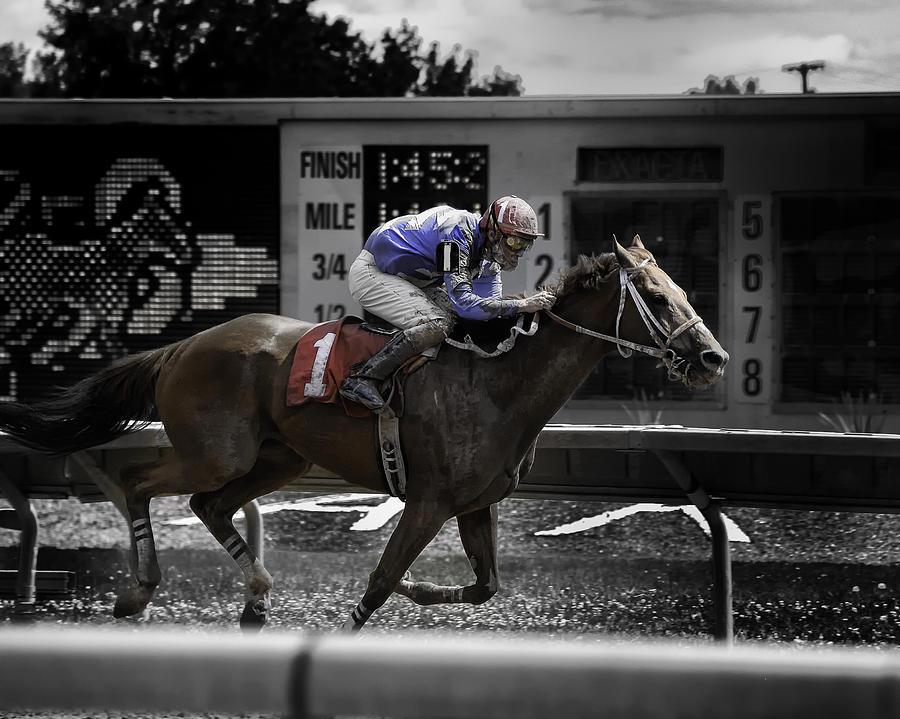 Horse Race Photograph - Nearing The Finish 2008  by Joseph Duba