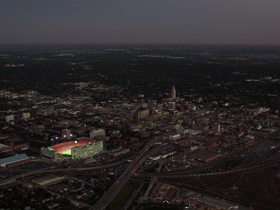 Memorial Stadium Photograph - Nebraska Memorial Stadium And Campus by PRANGE Aerial Photography