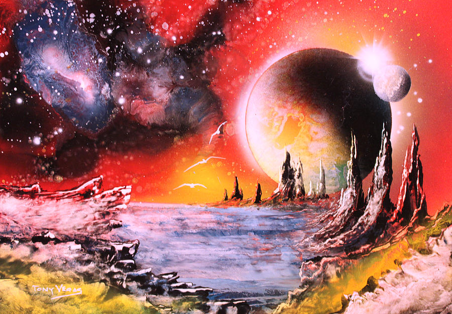 Space Art Painting - Nebula Storm by Tony Vegas