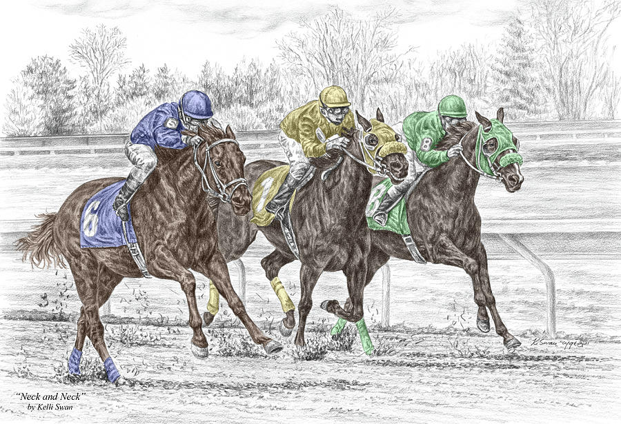 Tb Drawing - Neck And Neck - Horse Race Print Color Tinted by Kelli Swan