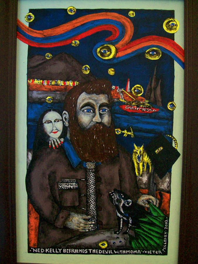 Ned Kelly Befriends The Devil Painting by Victor Maloney