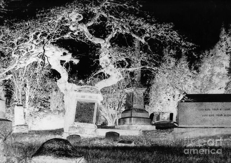 John Malone Photograph - Negative Image Of Cemetary by JSM Fine Arts John Malone
