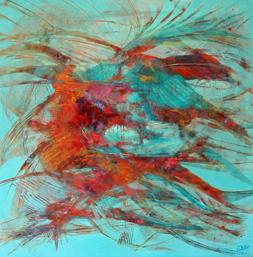 Abstract Painting - Neither Fish Nor Fowl by Gray Jacobik