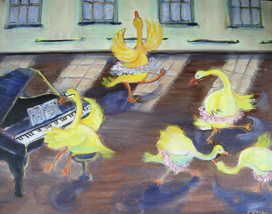Ducks Painting - Nellie Takes Ballet...again by Holly Stone