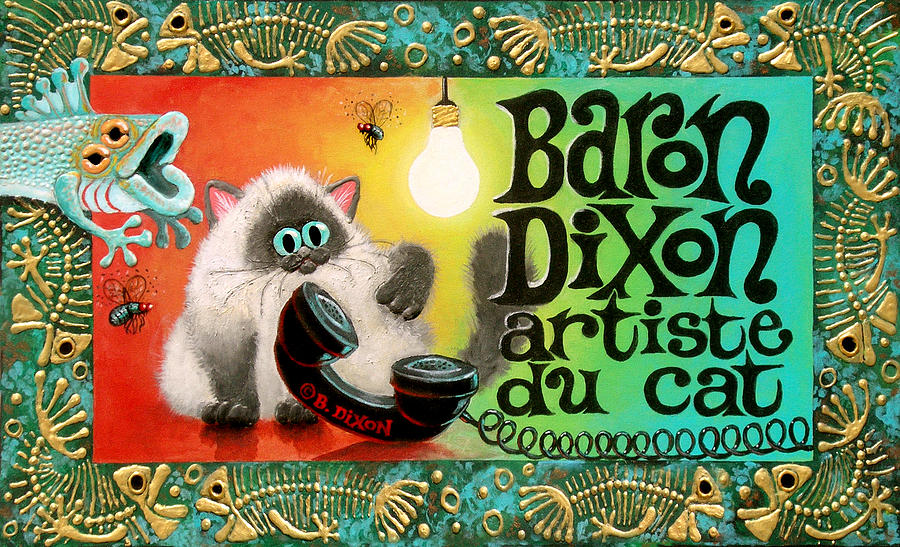 Cat Painting - Neocatism Bizcard by Baron Dixon