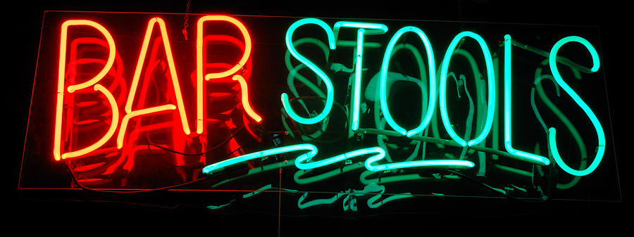 Neon Photograph - Neon Bar Stools by Steven Milner
